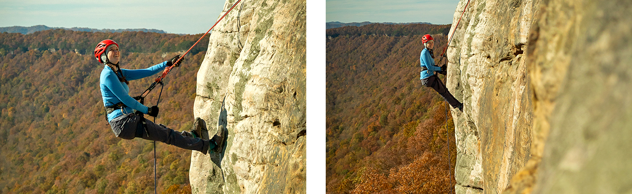 Rappelling in the lower New River Gorge with ACE Adventure Resort guides in West Virginia.
