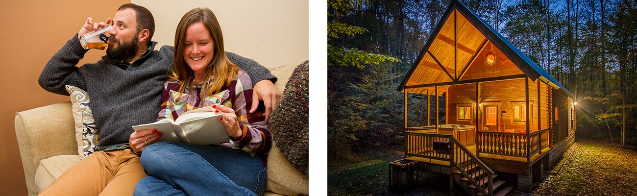Inside a cozy cabin and Aspen Lodge cabin, two New River Gorge cabins available to rent at ACE Adventure Resort.
