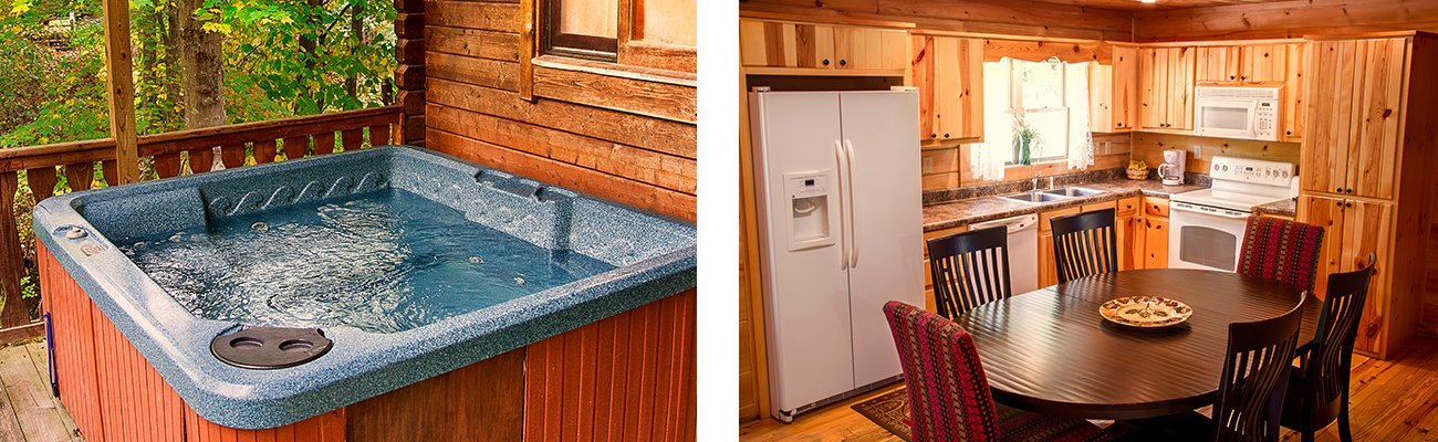 A full stocked kitchen and private hot tub at ACE Adventure Resort's New River Gorge cabins.