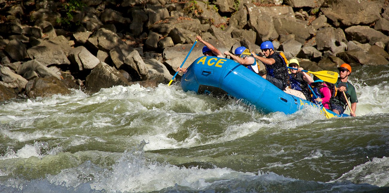 Whitewater rafting the Lower New River, after putting in at Cunard, next to the New River Gorge Southside Trail in Southern West Virginia.