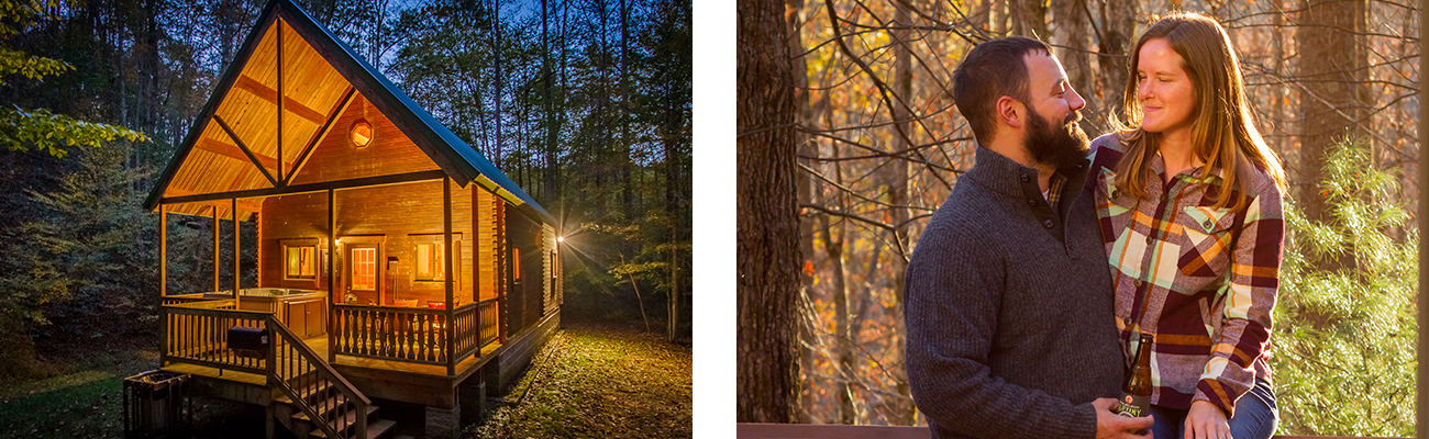Winter cabin with hot tub for a Valentines Day weekend at ACE Adventure Resort in Southern West Virginia.