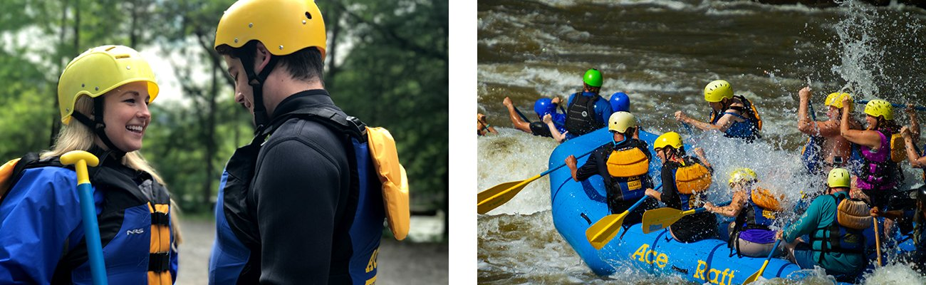 A couple goes rafting together with ACE Adventure Resort.