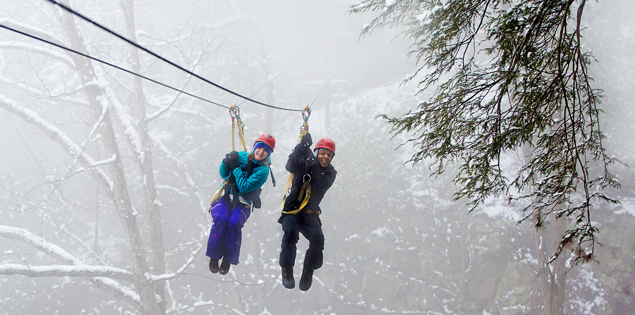 Winter zip lining for couples at ACE Adventure Resort in West Virginia.