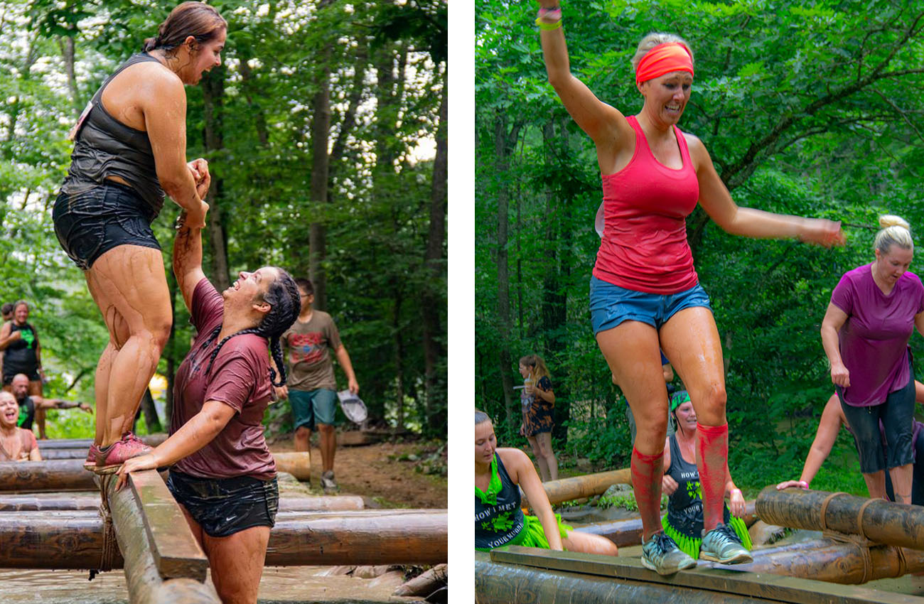 Friends help each other over the logs during the Gritty Chix Mud Run at ACE Adventure Resort in Southern West Virginia.