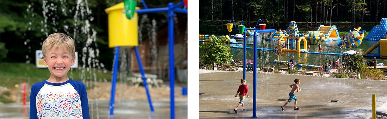 Family fun at Wonderland Waterpark with the splash pad at ACE Adventure Resort in the New River Gorge, West Virginia.