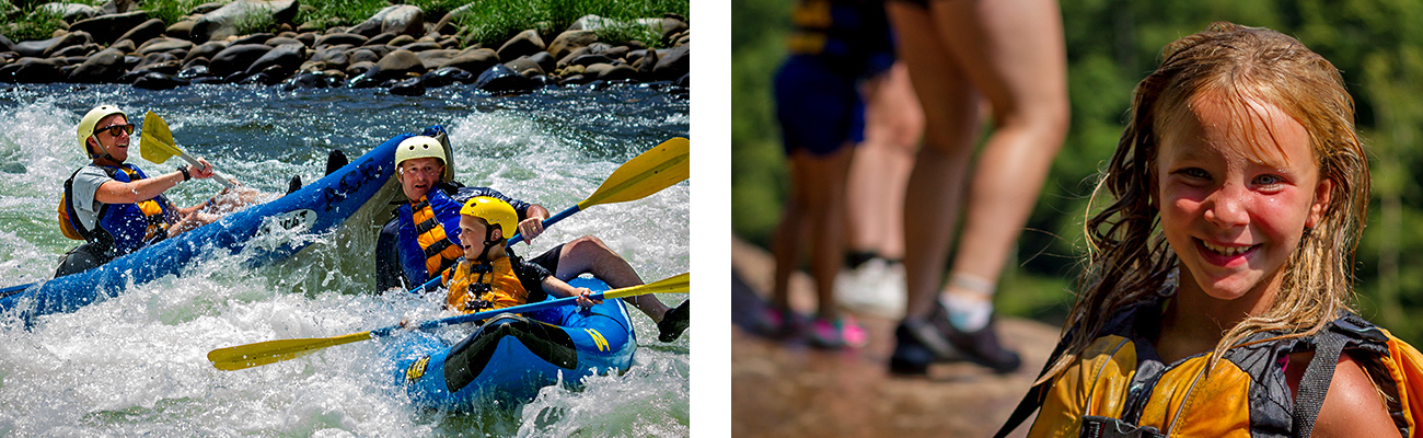 Family rafting on the Upper New River, the waterpark of the New River Gorge in Southern West Virginia with ACE Adventure Resort.