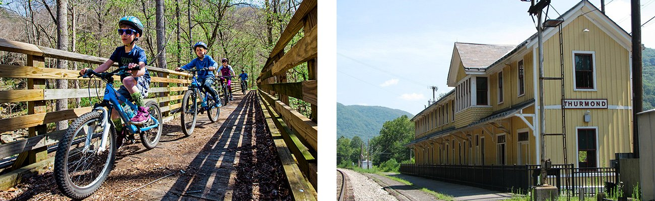 Guided biking tours for families and ghost town tours of historic Thurmond, West Virginia, both with ACE Adventure Resort.