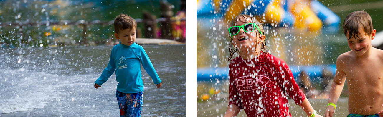 Younger kids playing on the splash pad at Wonderland Waterpark at ACE Adventure Resort.