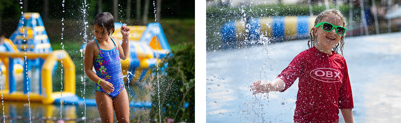 Playing in the water on the splash pad at ACE Adventure Resort in Oak Hill, WV.