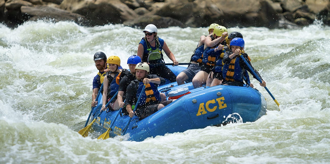 SPring whtiewater rafting on the Lower New River with ACE Adventure Resort in an 8-person raft.