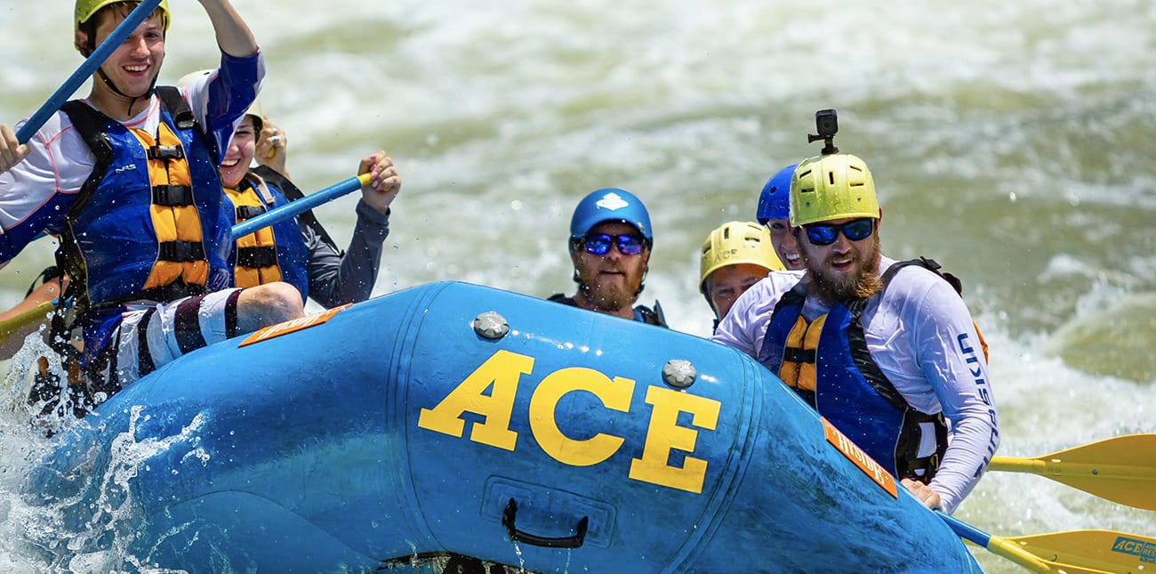 Paddling a guided spring whitewater rafting trip with ACE Adventure Resort on the Lower New River.