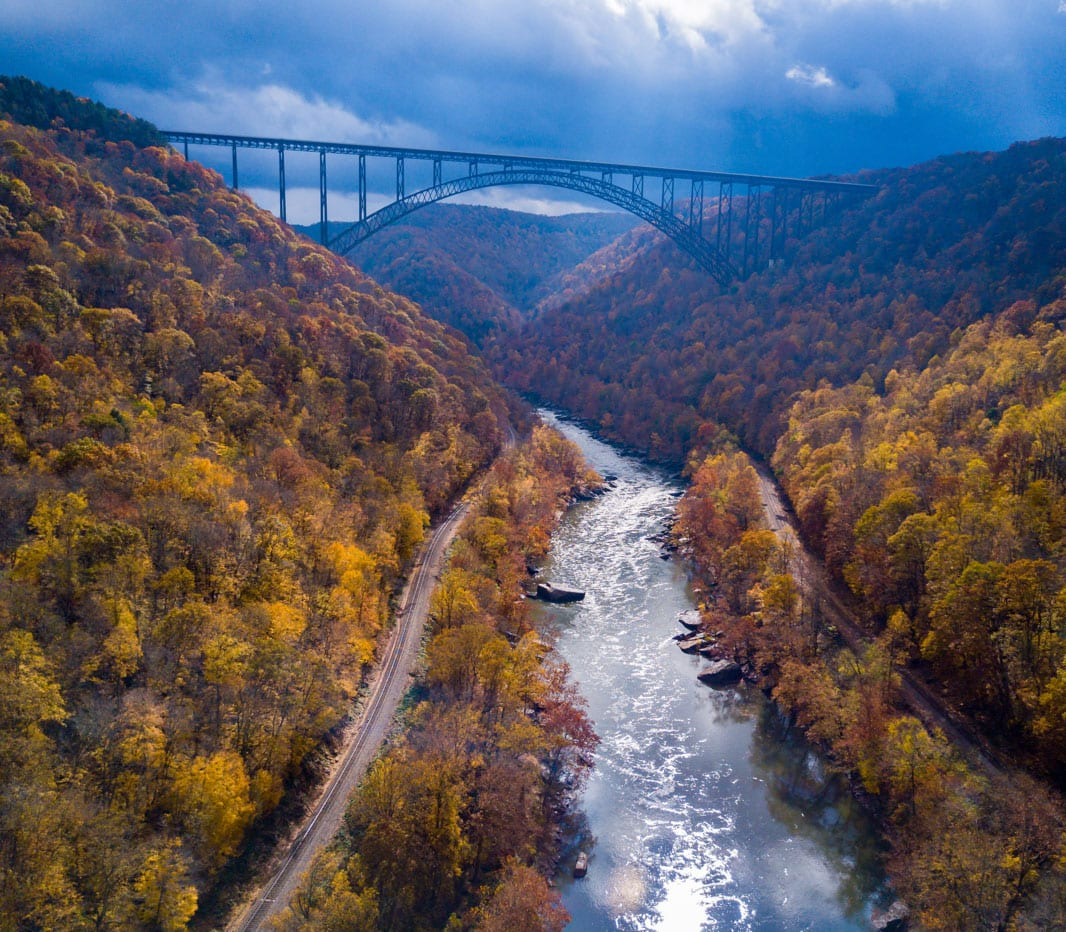 A view from above of the white water rafting stretch in the New River Gorge of West Virginia with ACE Adventure Resort.