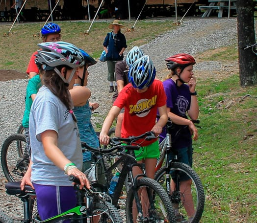 Group preparing for mountain biking