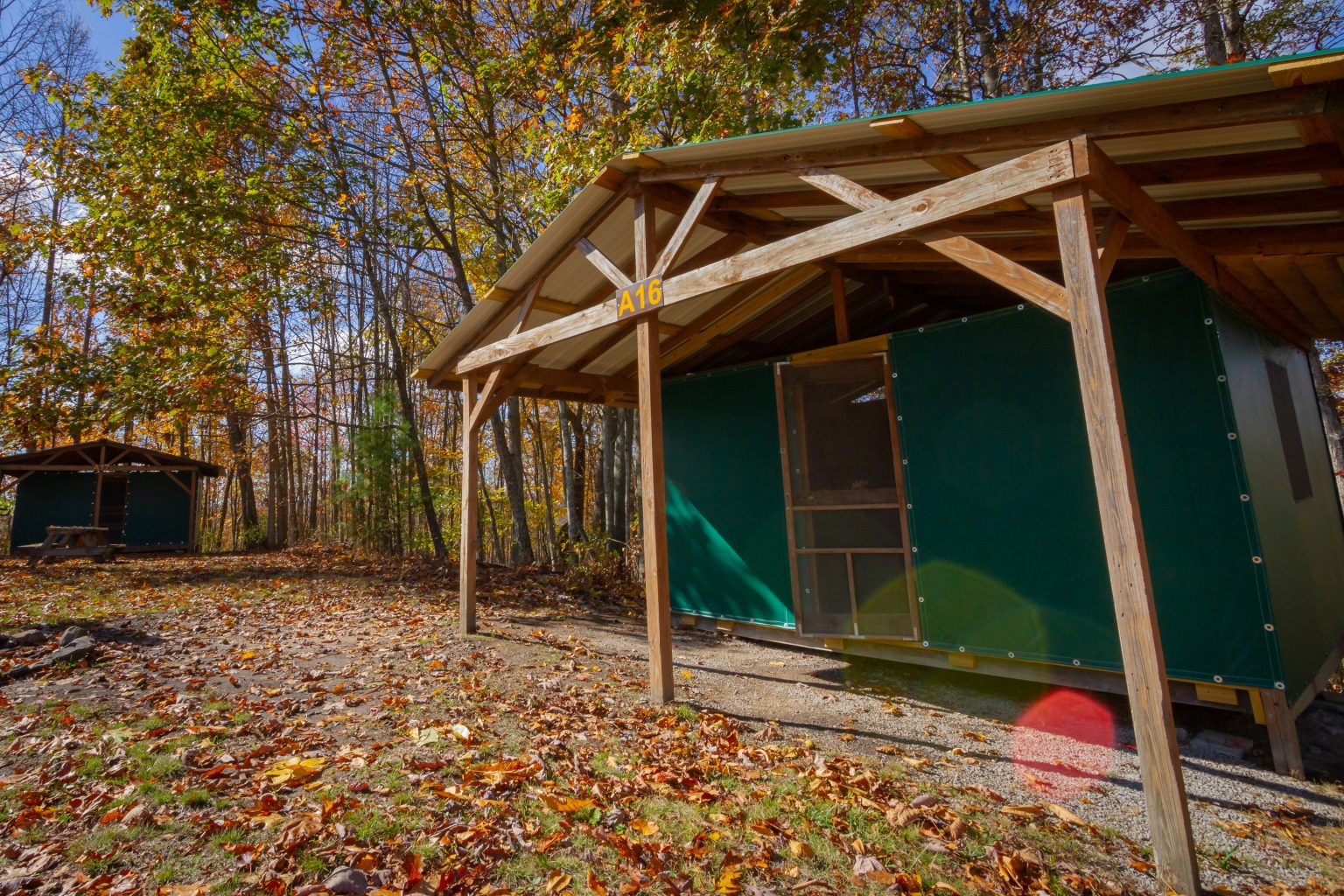 An outside view of ACE's new river gorge rustic lodging platform tent rental.