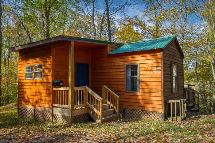 An exterior shot of the Laurel Cottage one of the most popular West Virginia rental cabins in the New River Gorge.