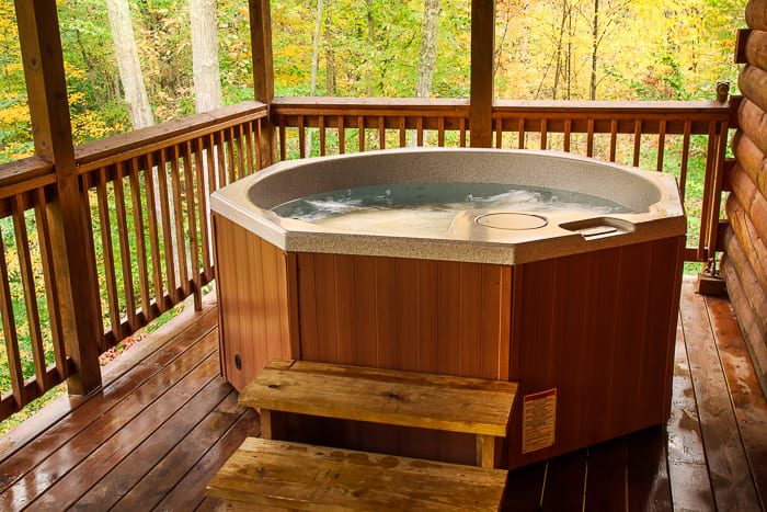 A picture of one of our West Virginia cabin rental's hot tub.