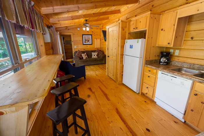 An interior shot of the spacious kitchen in the Ridge View West Virginia cabin rental unit at ACE Adventure Resort.