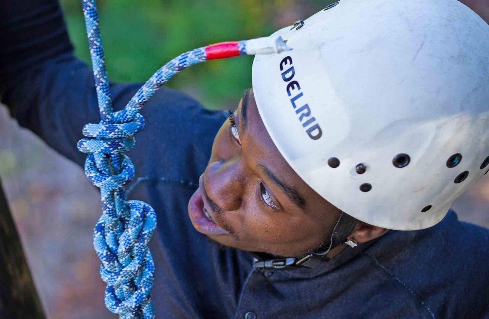 A student looks ahead on the Team Challenge Course at ACE