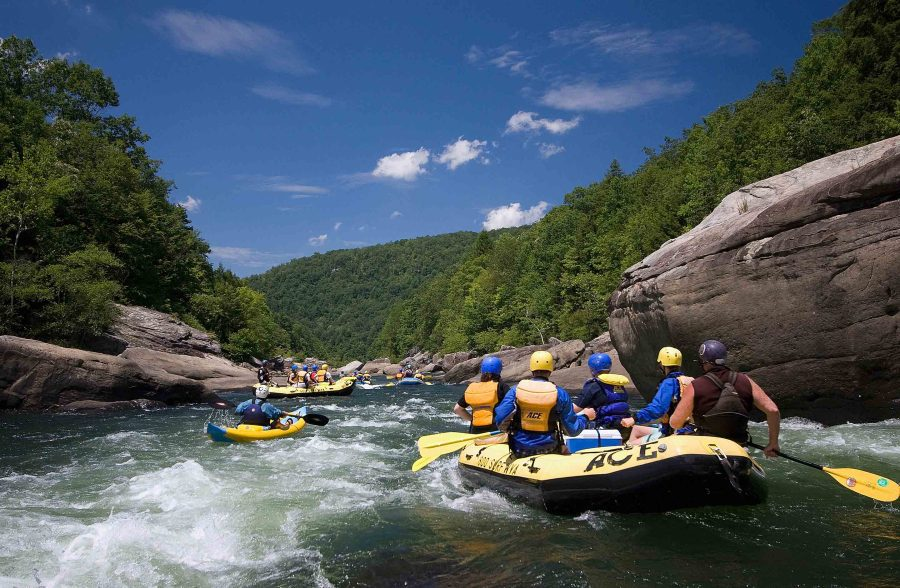 ACE guests paddle the Gauley River during a Summer Gauley trip.