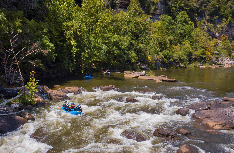 An ACE Adventure Resort raft enters Junkyard Rapid on a Lower Gauley rafting trip in West Virginia.