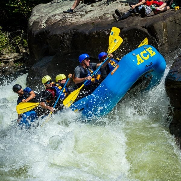 Photo of guests rafting the Gauley