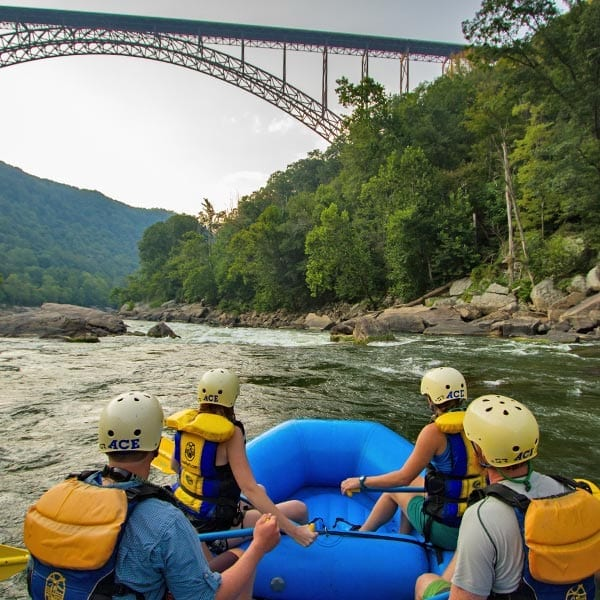 New River gorge bridge and rafters