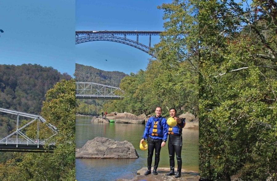 Guests of ACE pose under the New River Gorge Bridge on Bridge Day on a Lower New River white water rafting trip.