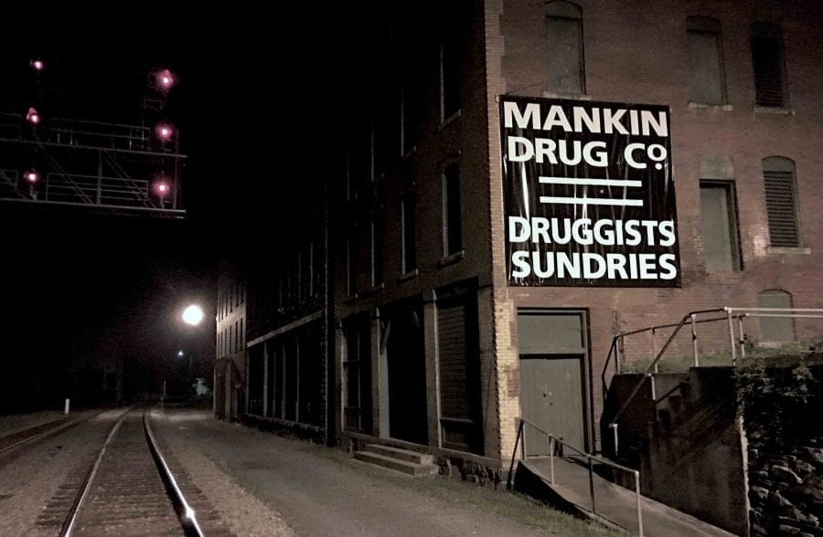 Thurmond, West Virginia, at night during a ghost hunt haunted tour with ACE Adventure Resort.