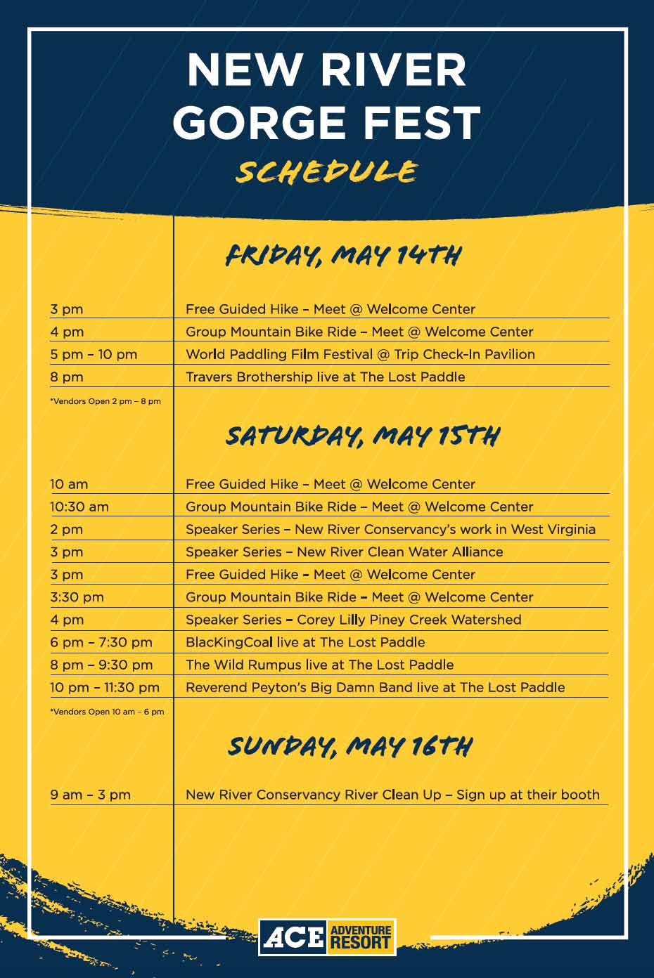 Schedule for New River Gorge Festival