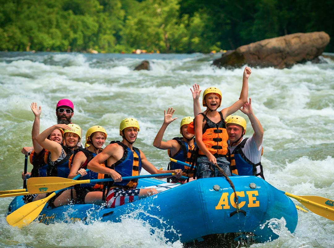Group rafting the lower new river