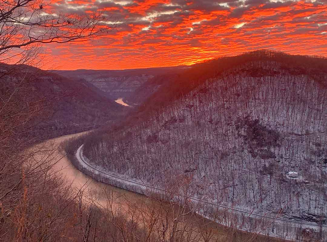 A glowing sunset from Concho Overlook at ACE shows how beaustiful winter in West Virginia can be.