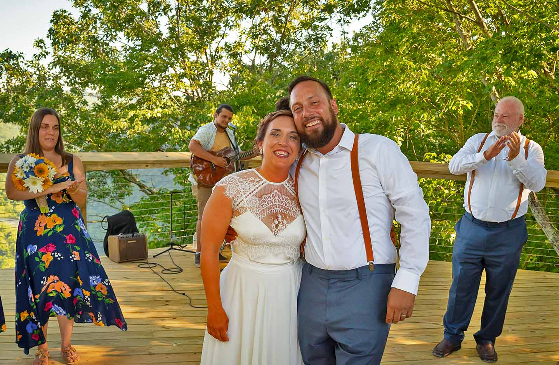 Couple celebrating wedding ceremony
