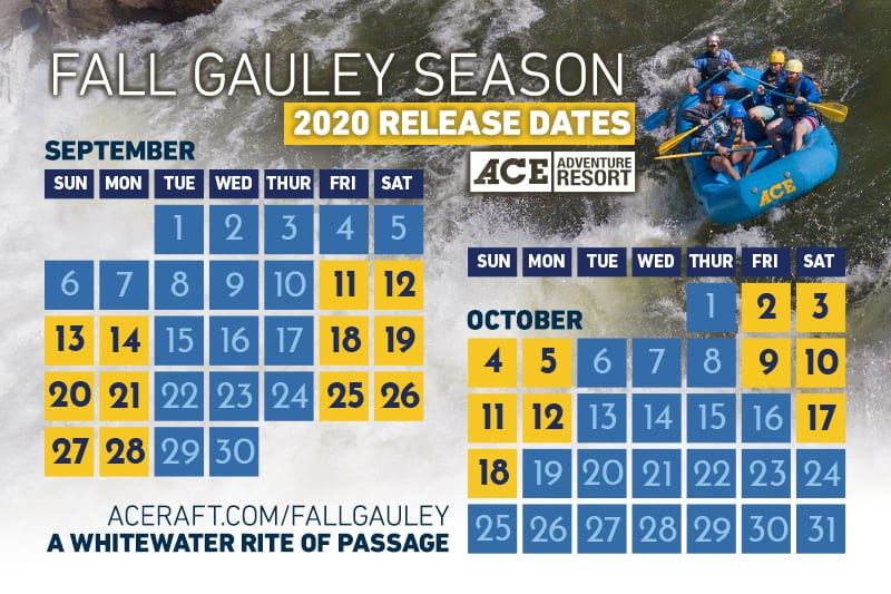 a calendar of the 2020 gauley season dam release dates