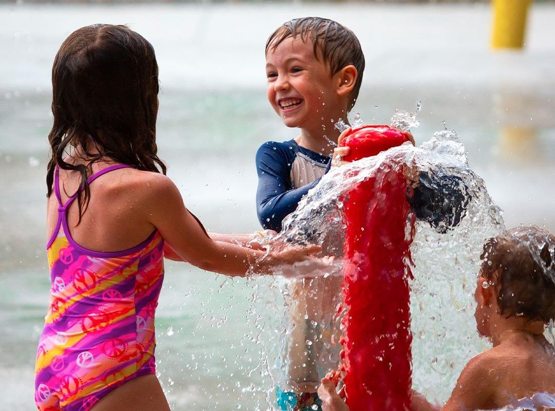 Children enjoying splash pad
