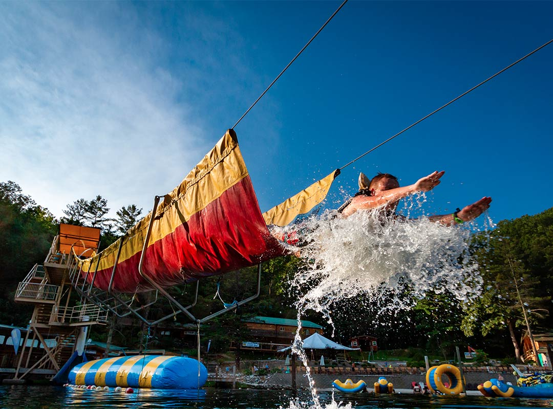 Guest sliding down one of our waterslides