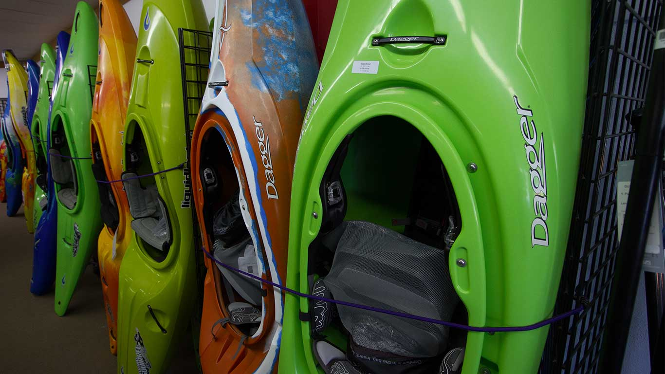 Photo of kayaks at ACE Adventure Gear Shop
