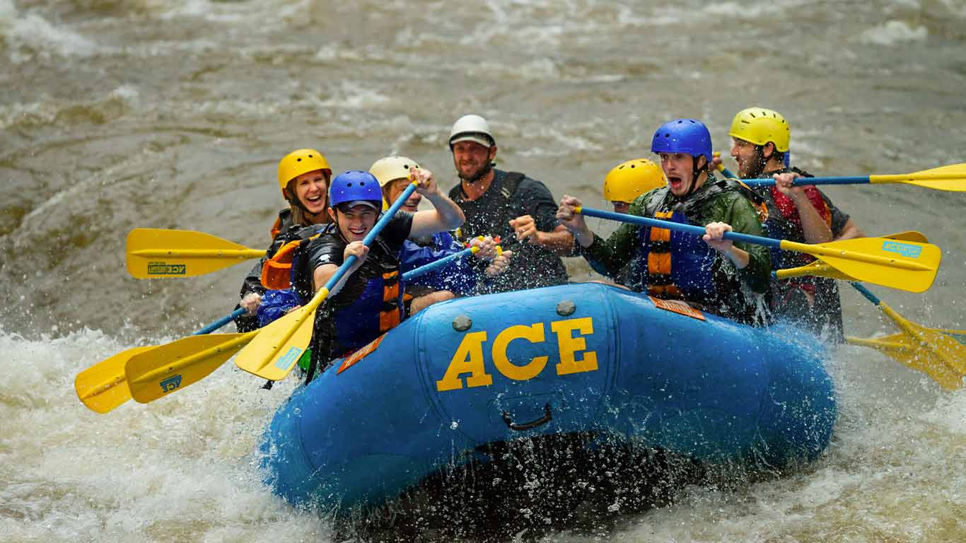 Group enjoying a rafting trip with ACE Adventure Resort