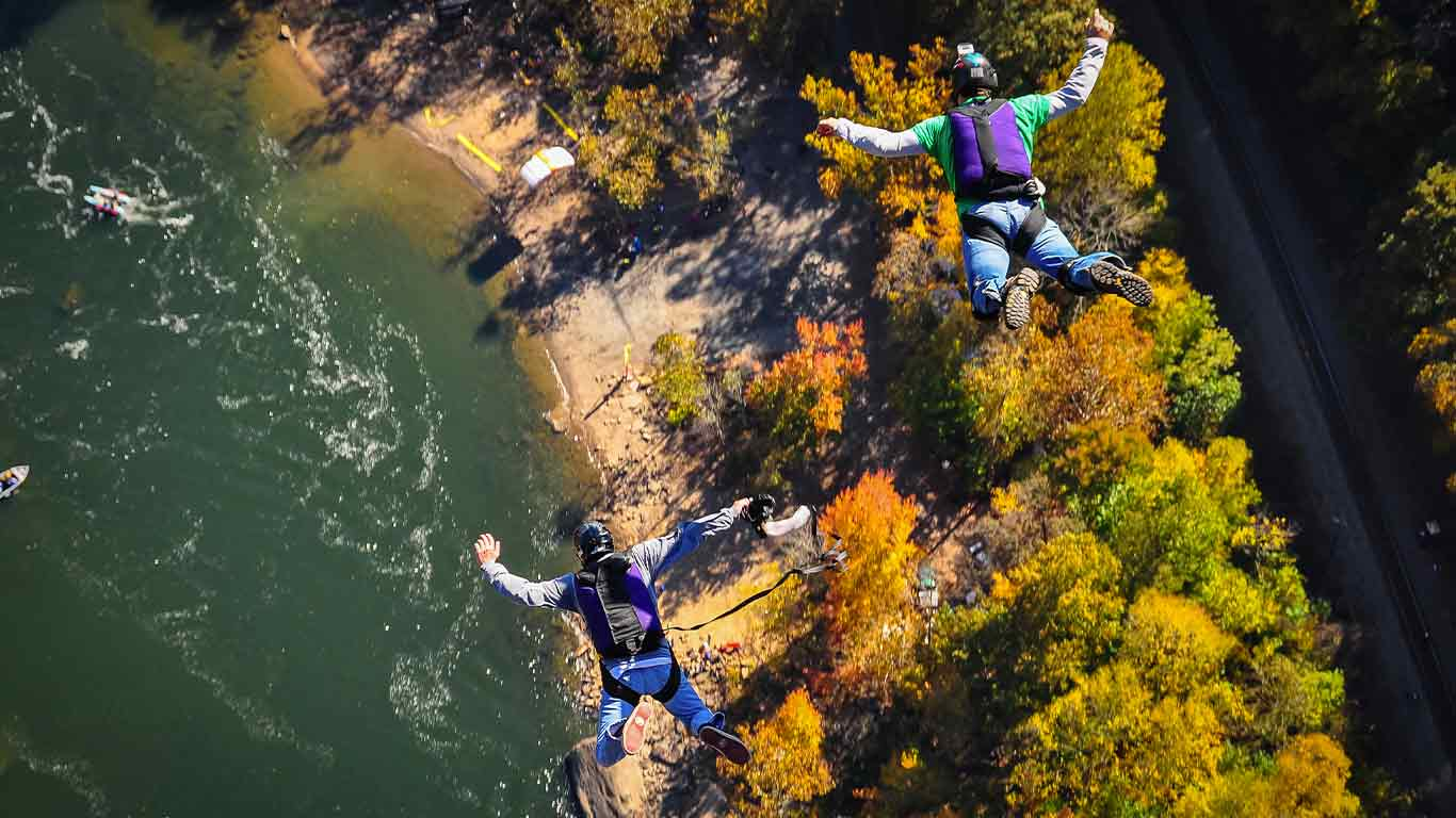 Base jumpers jumping off the New River Gorge Bridge