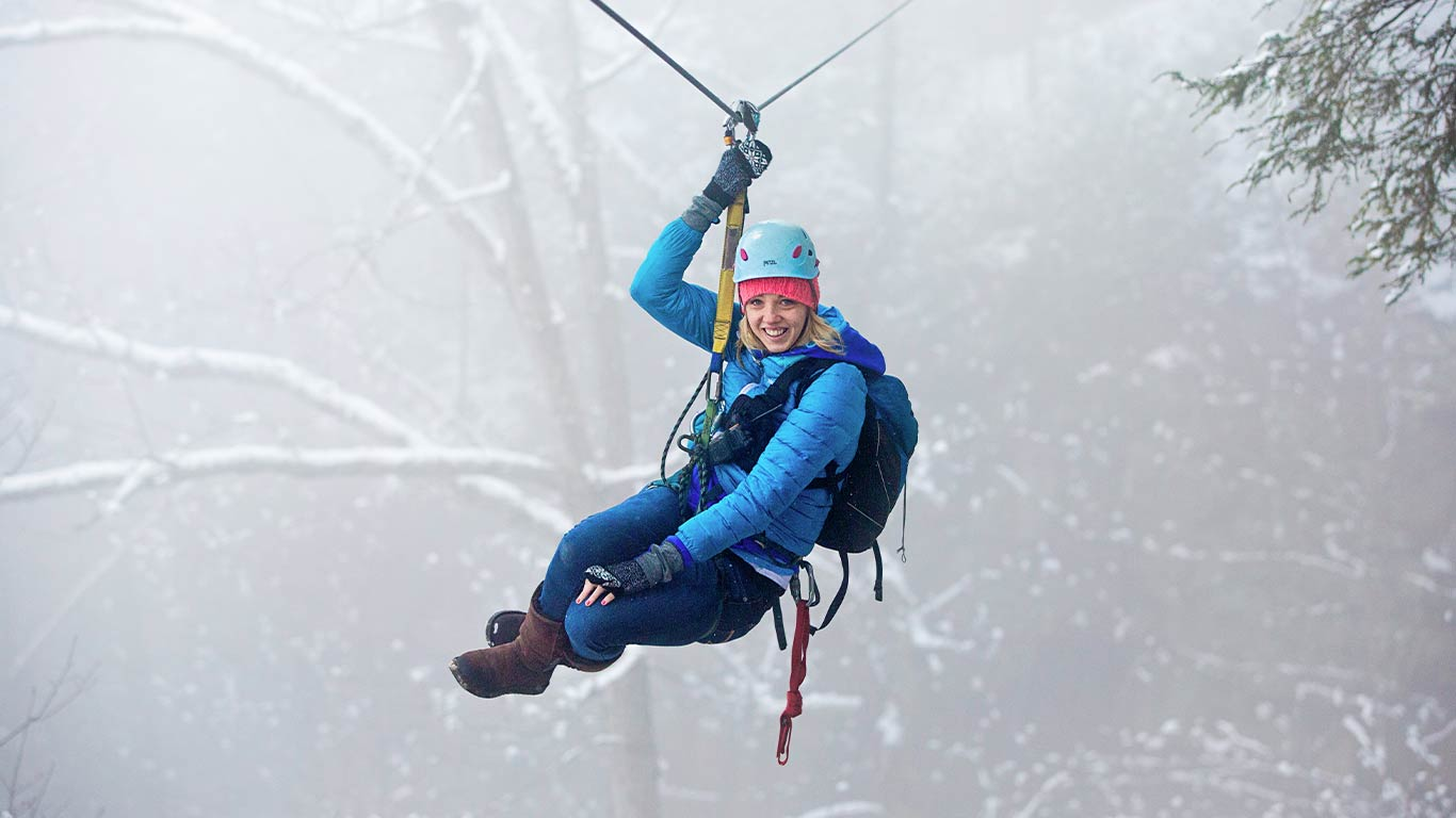 Zip lining at ACE Adventure Resort on Valentine's Day Weekend