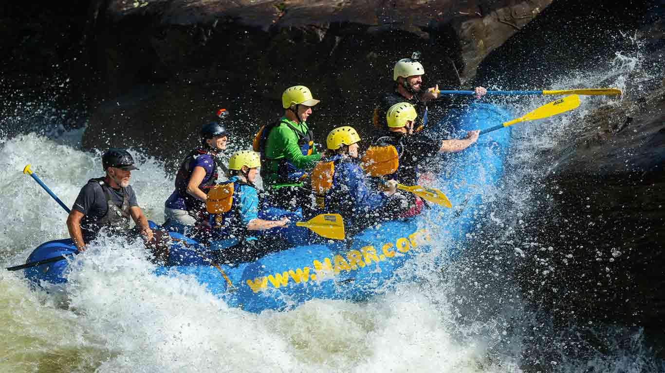 Rafting on a trip during fall gauley season