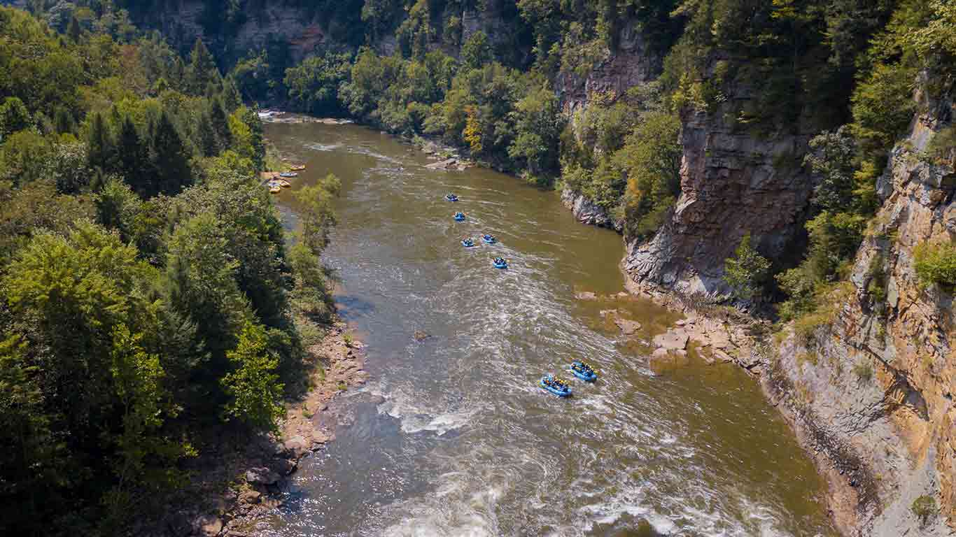 Drone shot of the Lower Gauley