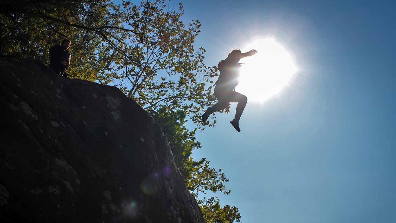 Guest jumping off Jump Rock
