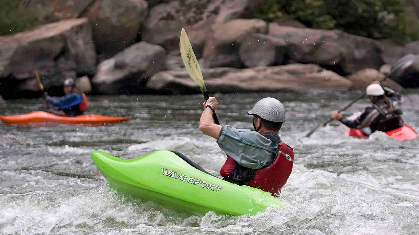 Paddler in a kayak on the New River