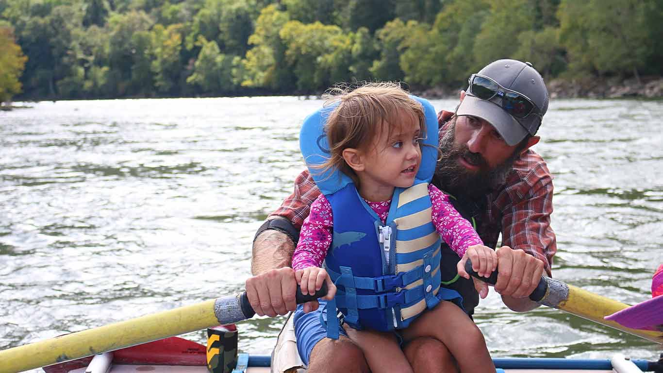 Father rafting the Upper New with daughter