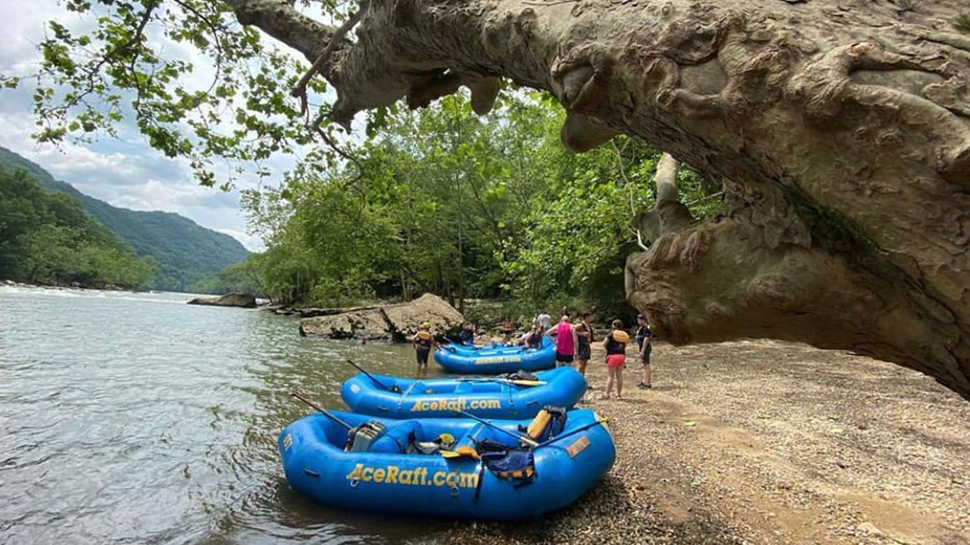Boats on shore for New River Gorge Festival