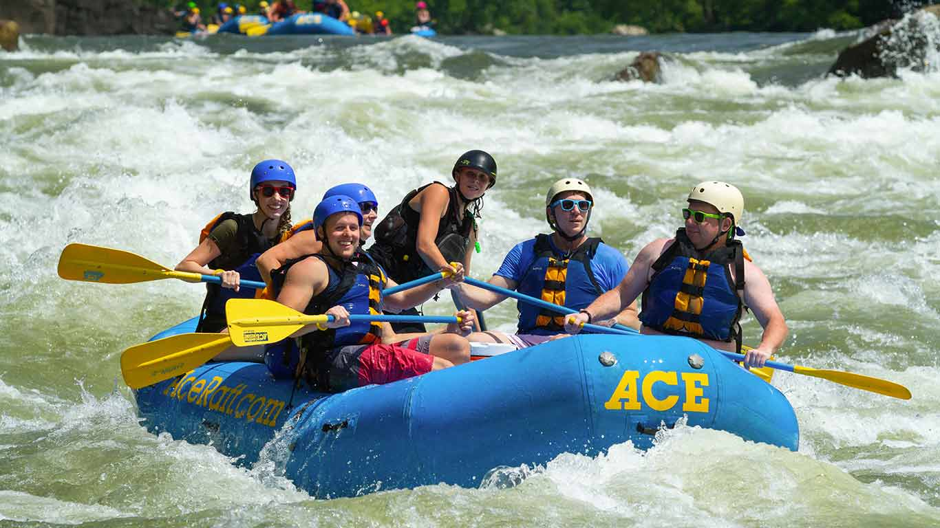 Guests on a raft trip