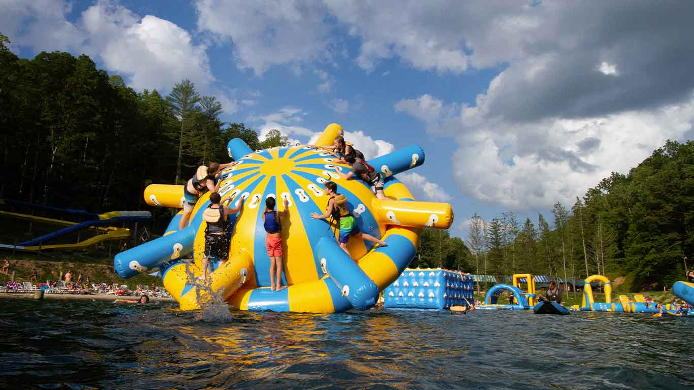 Guests enjoying ACE waterpark after Gritty Chix Mud Run
